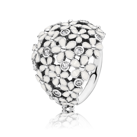 Darling Daisy Bouquet Ring, White Enamel & CZ