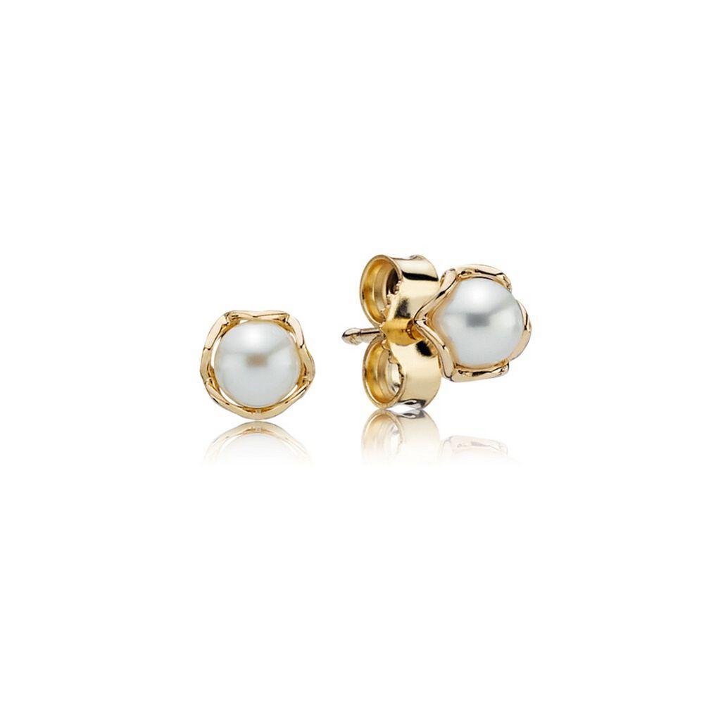 Cultured Elegance Stud Earrings, Pearl & 14K Gold | PANDORA