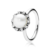 Everlasting Grace Stackable Ring, Pearl & Clear CZ
