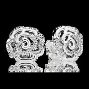 Shimmering Rose Stud Earrings, Clear CZ
