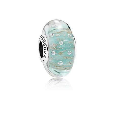 Mint Glitter, Murano Glass