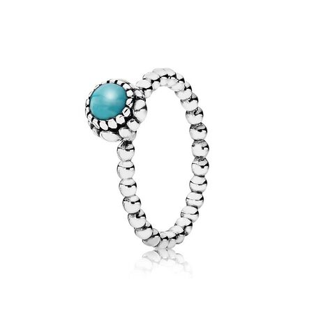 Birthday Blooms Ring, December, Turquoise