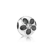 Mystic Floral Clip, Clear CZ & Black Enamel