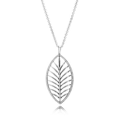 Tropical Palm Pendant Necklace, Clear CZ