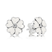 Primrose Stud Earrings, White Enamel