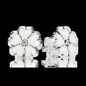 Primrose Stud Earrings, White Enamel