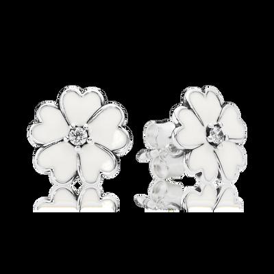 Primrose Stud Earrings, White Enamel | PANDORA Jewelry US