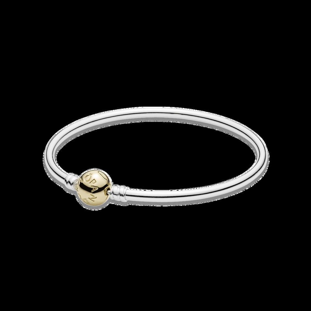 silver bangle charm bracelet with 14k gold clasp pandora j