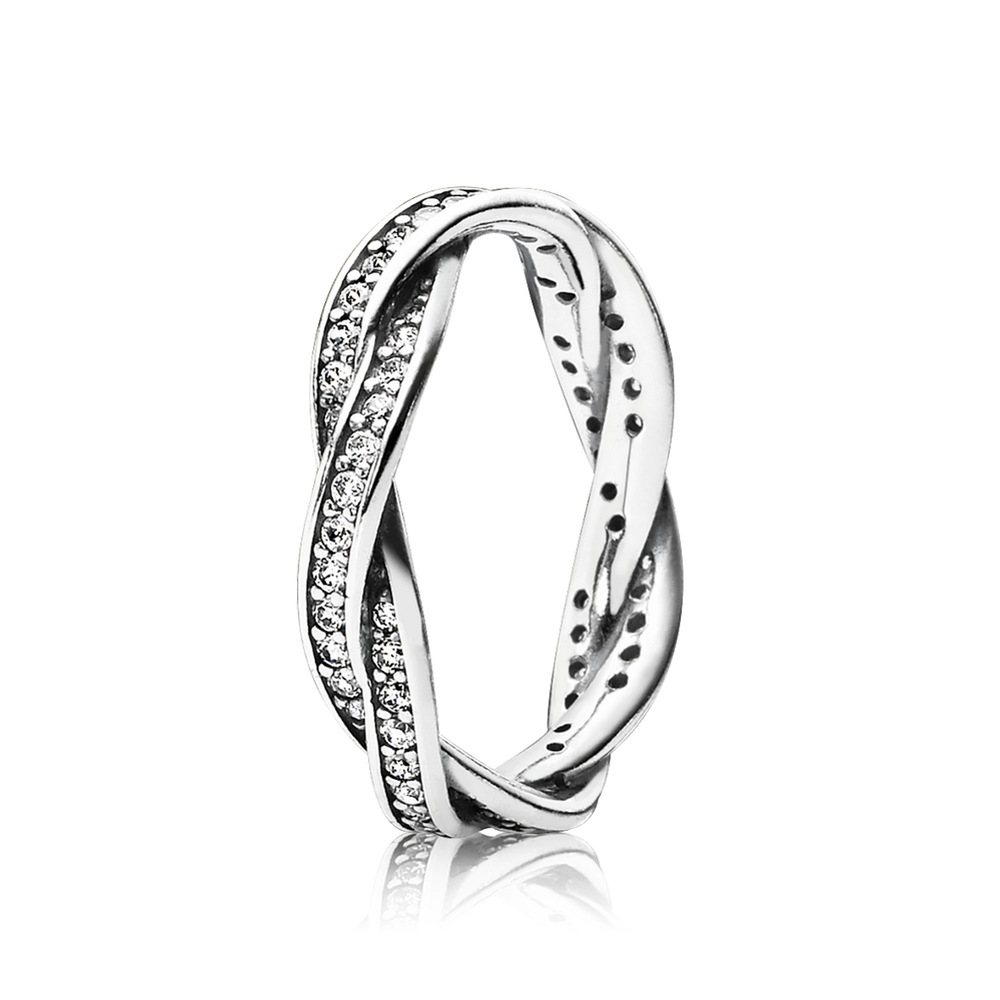 twist of fate stackable ring clear cz pandora jewelry us