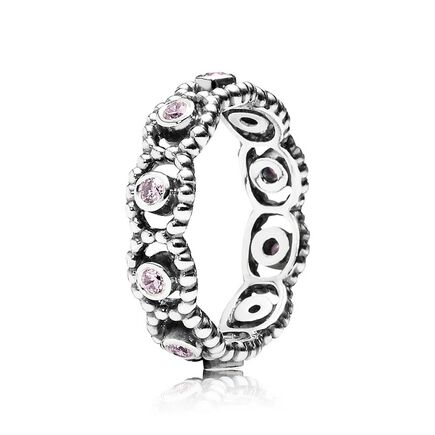 Her Majesty Stackable Ring, Pink CZ
