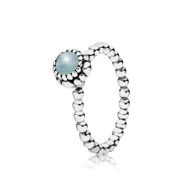 Birthday Blooms Stackable Ring, March, Aquamarine