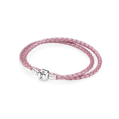 Pink Braided Double-Leather Charm Bracelet