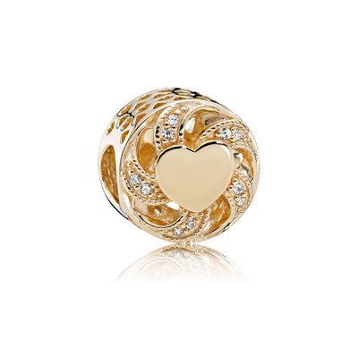 Ribbon Heart, 14K Gold & Clear CZ