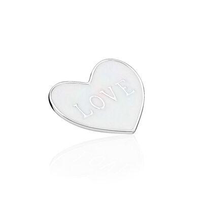 Love Heart Plate, Medium, Silver Enamel
