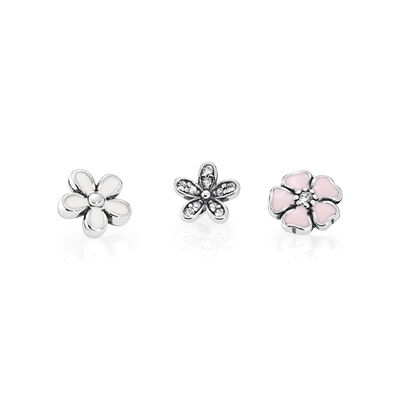 Poetic Blooms Petites, Mixed Enamels & Clear CZ