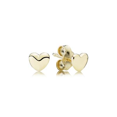 Petite Heart Stud Earrings, 14K Gold