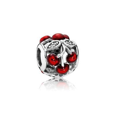 Sweet Cherries, Glossy Red Enamel & Clear CZ