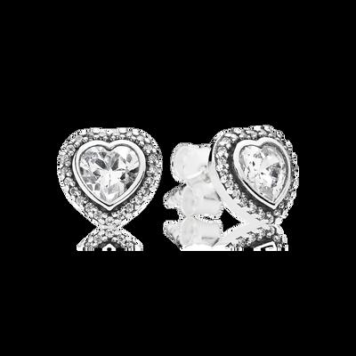 Sparkling Love Stud Earrings, Clear CZ