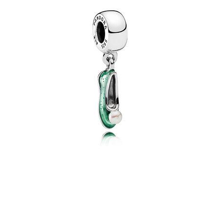 Disney, Tinker Bell's Shoe, White Cultured Pearl & Glittering Green Enamel
