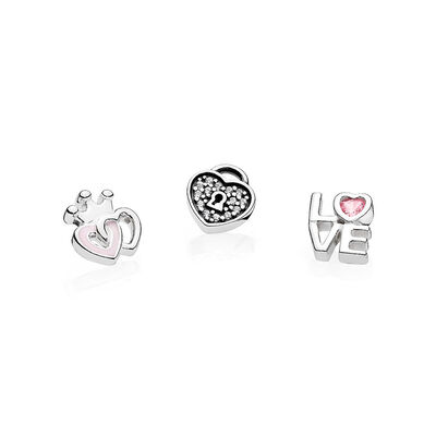 Forever Hearts Petites, Soft Pink Enamel, Pink & Clear CZ