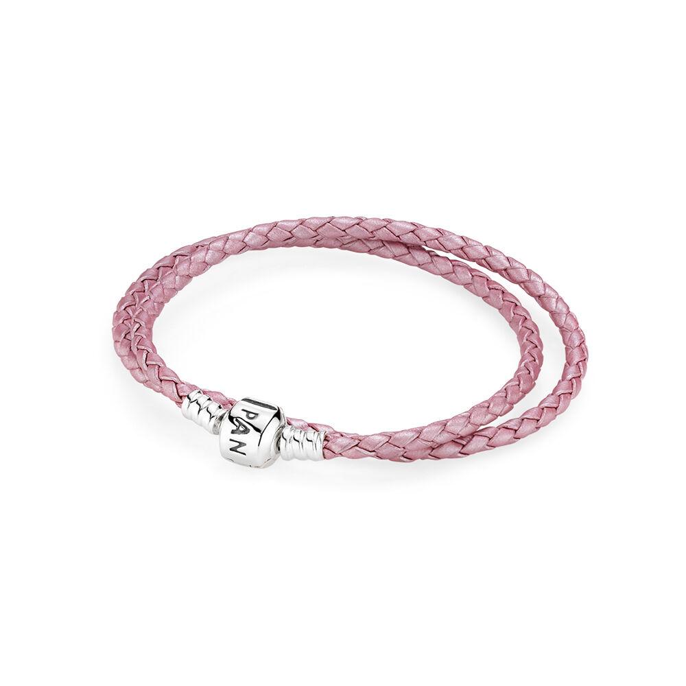 pink braided doubleleather charm bracelet pandora jewelry