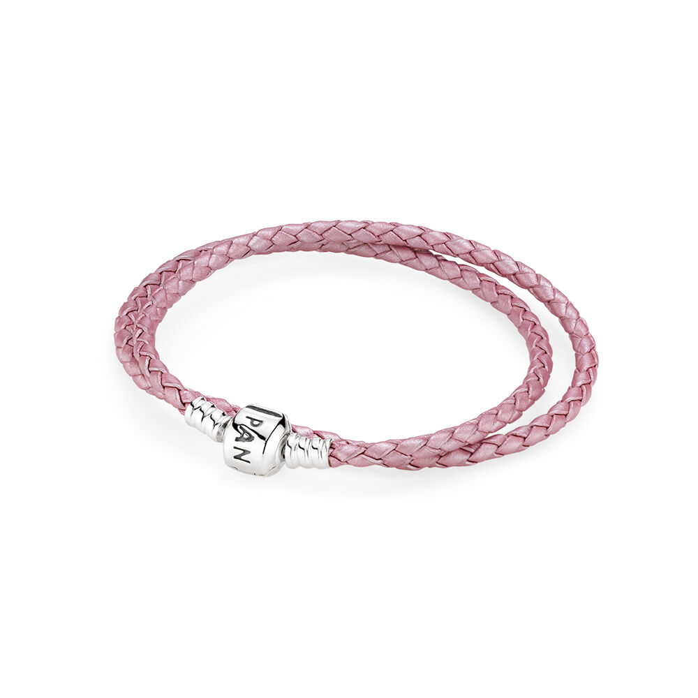 pink braided doubleleather charm bracelet pandora jewelry