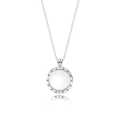 PANDORA Floating Locket, Medium, Sapphire Crystal Glass