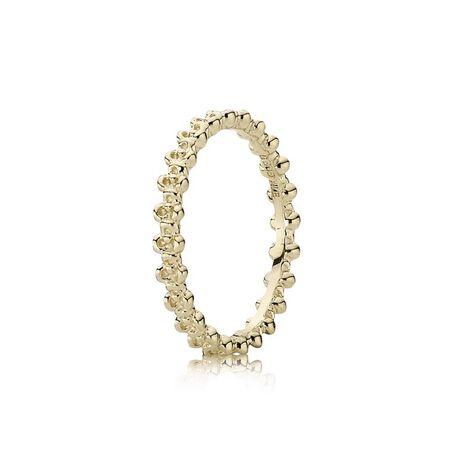 Floral Elegance Stackable Ring, 14K Gold