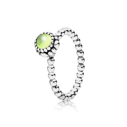 Silver ring, birthstone-August, peridot