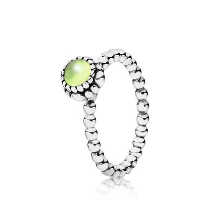 Birthday Blooms Stackable Ring, August, Peridot