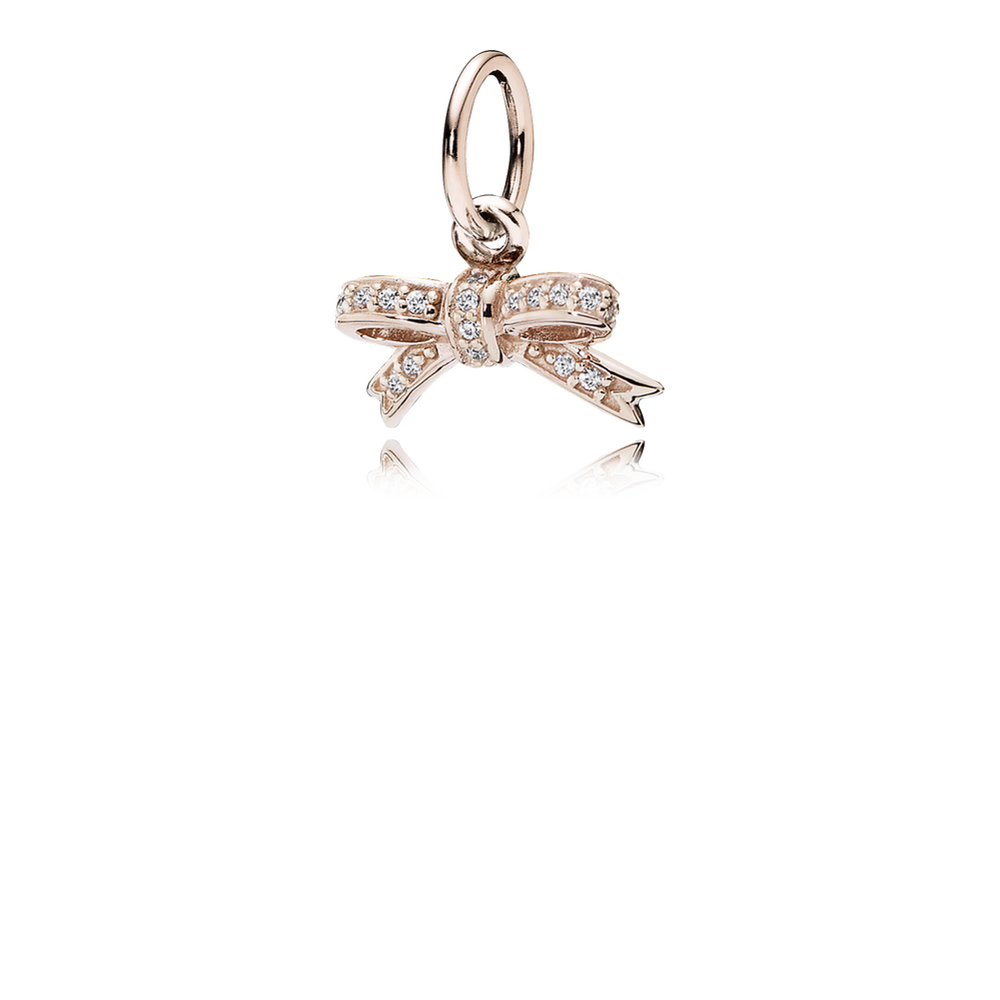 sparkling bow pendant pandora rose clear cz pandora je