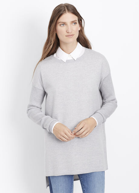 Double-Faced Ribbed Sleeve Tunic