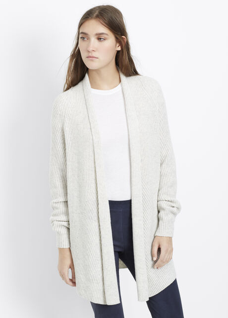 Wool Cashmere Directional Rib Open Front Cardigan