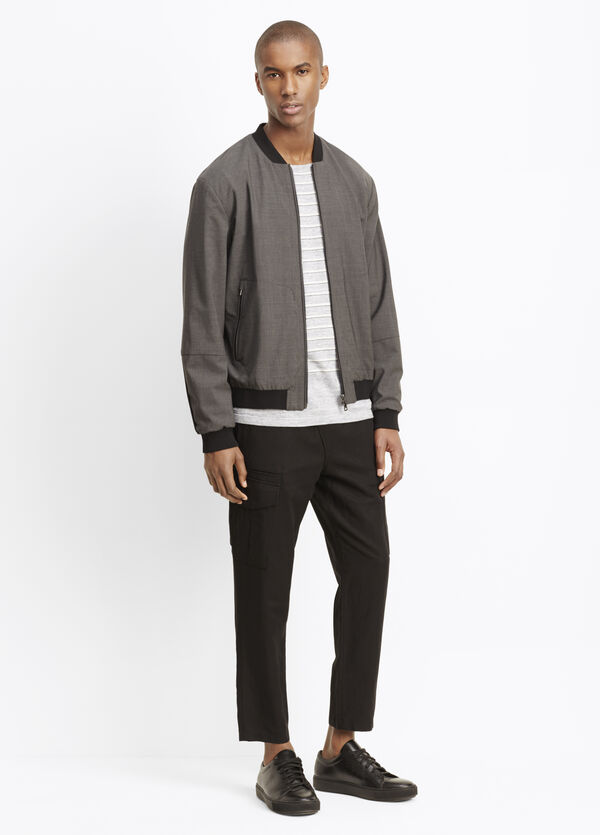 Worsted Wool Reversible Bomber Jacket