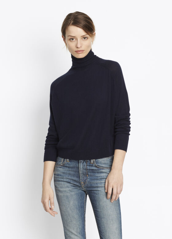 Cashmere Drop Shoulder Turtleneck