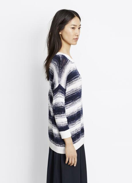 Ombré Stripe Cotton Pullover Sweater