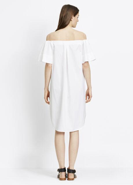 Cotton Poplin Off-The-Shoulder Shirtdress