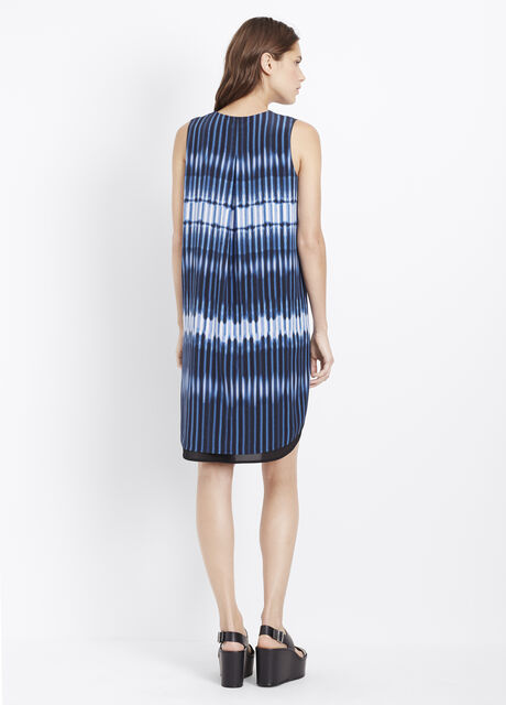 Silk Tie Dye Stripe Sleeveless Double Layer Dress