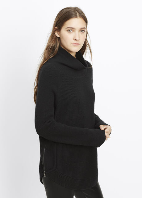 Ribbed Turtleneck Sweater with Side Zippers
