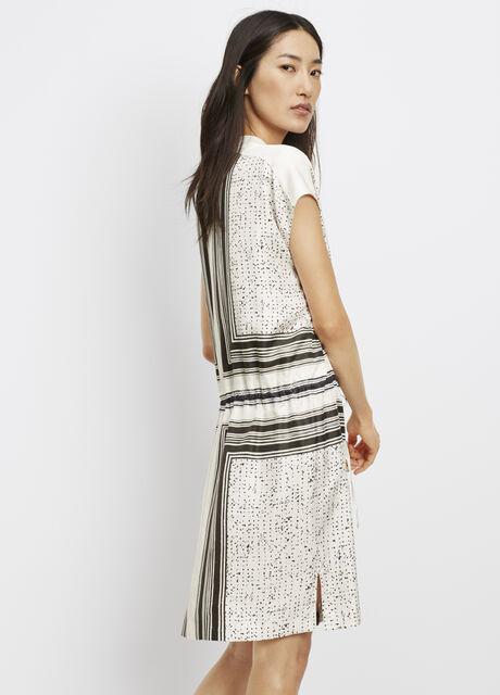 Silk Scarf Print Popover Dress With Drawstring