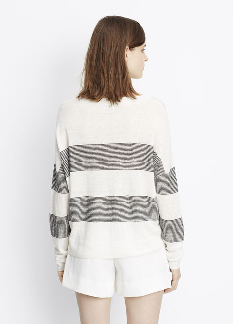 Striped Linen Pullover Sweater
