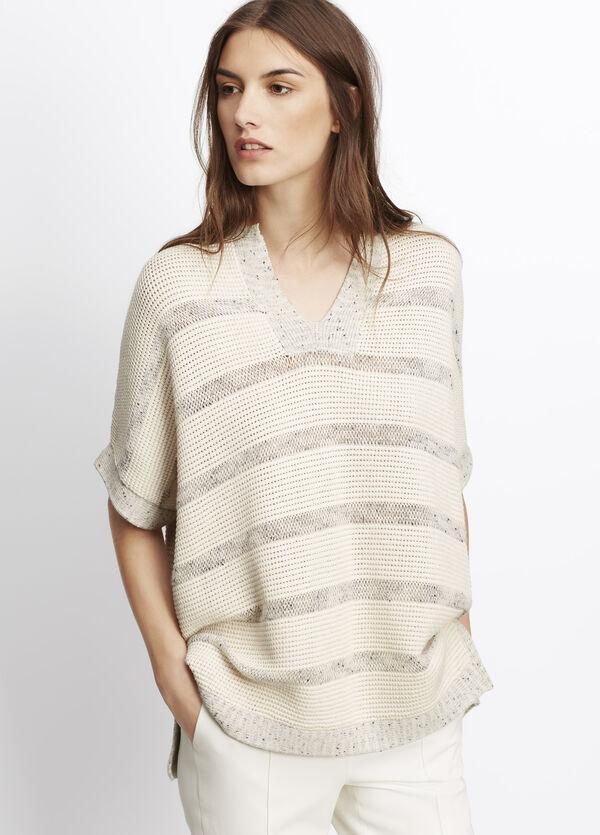 Speckle Stitch Stripe Popover Sweater