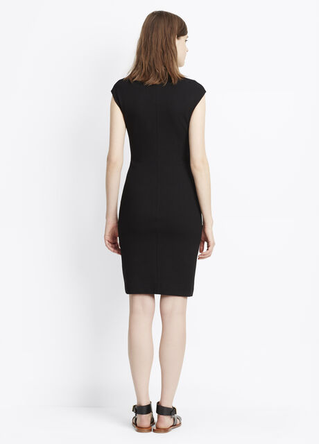 Textured Ponte V-Neck Bib Sheath Dress