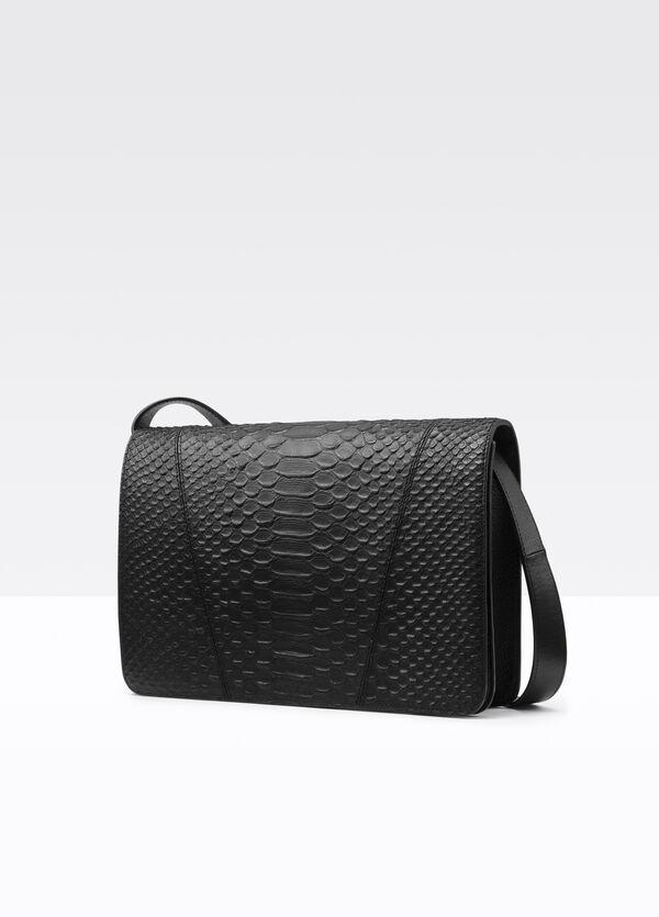 Modern V Stamped Python Medium Shoulder Bag