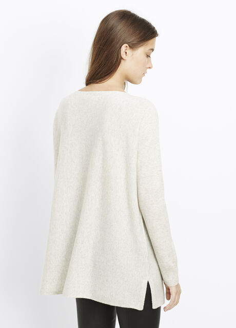 Cashmere Rib Stitch Trim Boatneck Sweater