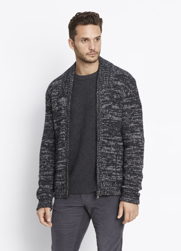 Yak Wool Marl Zip Cardigan
