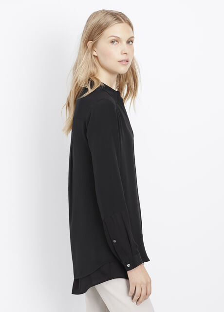 Silk Double Placket Long Sleeve Blouse