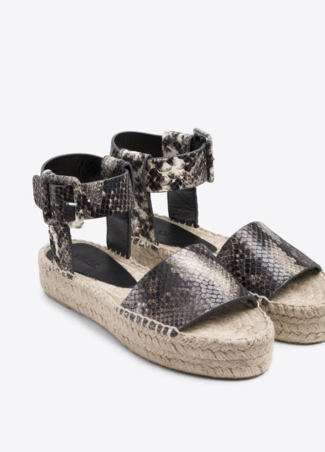 Edina Snake Print Leather Espadrille Sandal