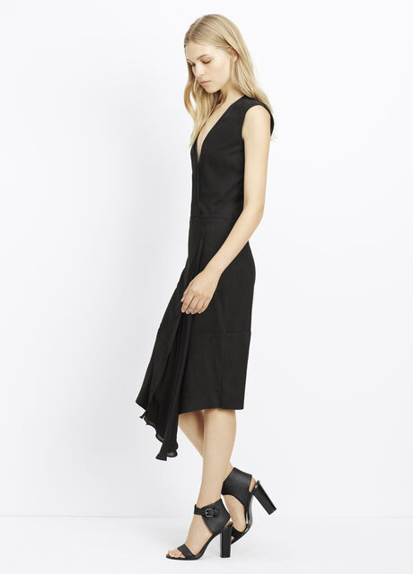 Suede Mixed Media Wrap Dress