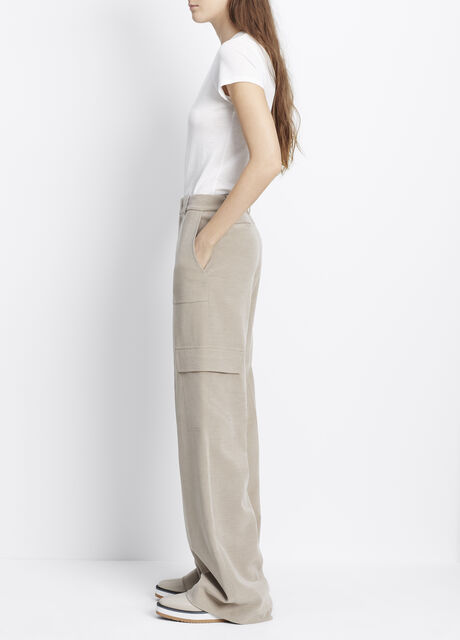 Cupro Cotton Wide Leg Cargo Trouser